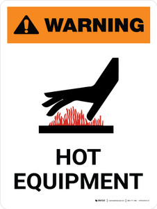 Warning: Hot Equipment Portrait White With Icon - Wall Sign
