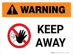 Warning: Keep Away Landscape White With Icon - Wall Sign