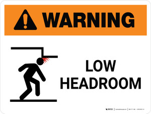 Warning: Keep Low Headroom Landscape White With Icon - Wall Sign