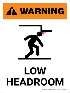 Warning: Low Headroom Portrait White With Icon - Wall Sign
