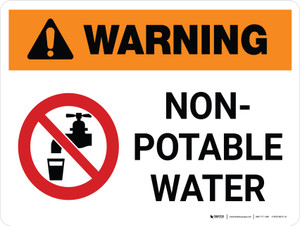 Warning: Non Potable Water Landscape White With Icon - Wall Sign