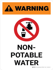 Warning: Non Potable Water Portrait White With Icon