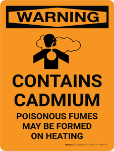 Warning: Contains Cadmium - Poisonous Fumes May Be Formed On Heating Portrait With Icon - Wall Sign