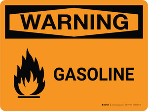 Warning: Gasoline Landscape With Icon - Wall Sign