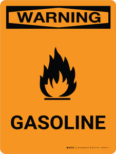 Warning: Gasoline Portrait With Icon - Wall Sign