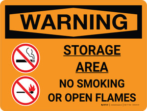 Warning: Storage Area - No Smoking Open Flame Landscape With Icon - Wall Sign