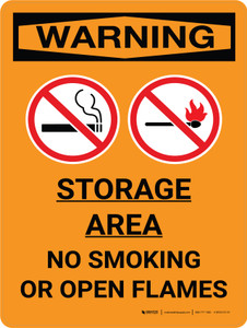 Warning: Storage Area - No Smoking Open Flame Portrait With Icon - Wall Sign
