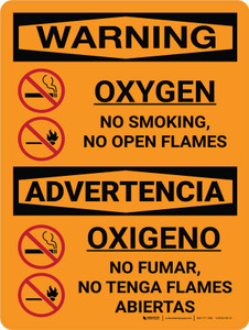 Warning: Oxygen No Smoking No Open Flames Bilingual Portrait With Icon - Wall Sign