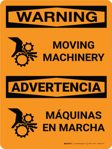 Warning: Moving Machinery Bilingual Portrait With Icon - Wall Sign