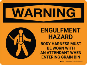 Warning: Engulfment Hazard Body Harness Must Be Worn Landscape With Icon - Wall Sign