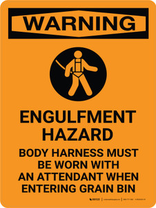 Warning: Engulfment Hazard Body Harness Must Be Worn Portrait With Icon - Wall Sign