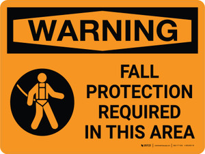 Warning: Fall Protection Required Area Landscape With Icon - Wall Sign