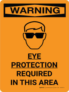 Warning: Ppe Eye Protection Required Portrait With Icon - Wall Sign