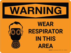 Warning: Wear Respirator In This Area Landscape With Icon - Wall Sign