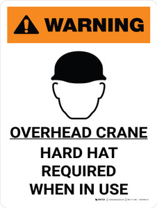 Warning: Overhead Crane Hard Hat Required When In Use Portrait With Icon - Wall Sign