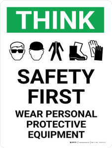 Think: Safety First - Wear PPE Portrait With Icon - Wall Sign