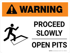 Warning: Proceed Slowly - Open Pits Landscape White With Icon - Wall Sign