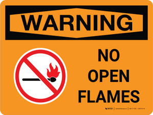 Warning: No Open Flames Landscape OSHA With Icon - Wall Sign