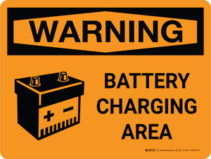 Warning: Battery Charging Area Landscape OSHA With Icon - Wall Sign