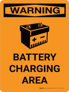 Warning: Battery Charging Area Portrait OSHA With Icon - Wall Sign