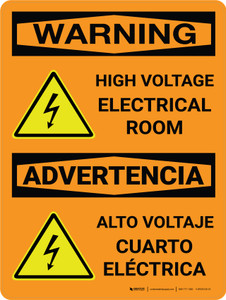 Warning: High Voltage Electrical Room Bilingual Spanish OSHA Portrait With Icon - Wall Sign