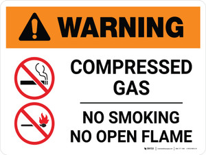 Warning: Compresses Gas - No Smoking/No Open Flame Landscape White With Icon - Wall Sign