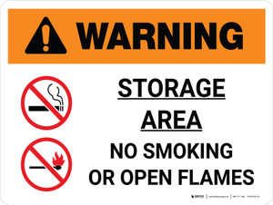 Warning: Storage Area - No Smoking or Open Flame Landscape White With Icon - Wall Sign