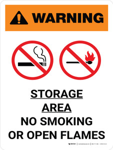Warning: Storage Area - No Smoking or Open Flame Portrait White With Icon - Wall Sign