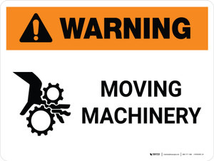 Warning: Moving Machinery Landscape With Hand Hazard Icon - Wall Sign