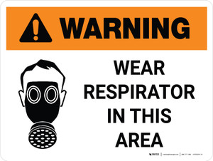 Warning: Wear Respirator In This Area Landscape White With PPE Icon - Wall Sign