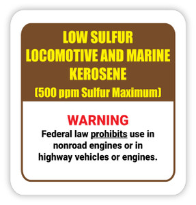 Low Sulfur and Locomotive and Marine Kerosene - Diesel Pump Label