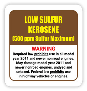 Low Sulfur Kerosene - Diesel Pump Label