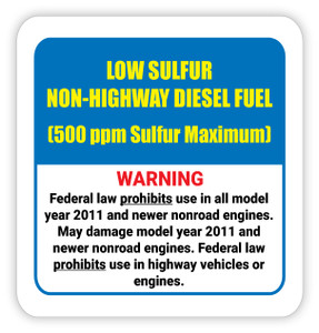 Low Sulfur Non-Highway Diesel Fuel - Diesel Pump Label