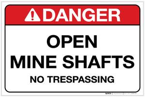 Danger: Open Mine Shafts - No Trespassing Landscape - Label