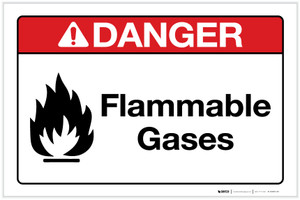 Danger: Flammable Gases with Icon Landscape - Label
