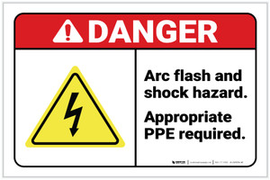 Danger: Arc Flash and Shock Hazard - Appropriate PPE Required with Icon Landscape - Label
