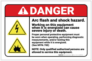 Danger: Arc Flash and Shock Hazard - Working on Equipment When Energized with Hazard Icons Landscape - Label