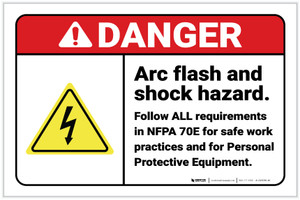 Danger: Arc Flash and Shock Hazard - Follow All Requirements with Hazard Icon Landscape - Label