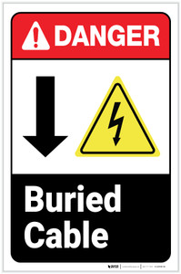 Danger: Buried Cable Down Arrow ANSI with Icons Portrait - Label