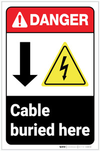 Danger: Cable Buries Here Down Arrow ANSI with Icons Portrait - Label