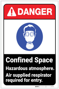 Danger: Confined Space - Hazardous Atmosphere ANSI with Icon Portrait - Label