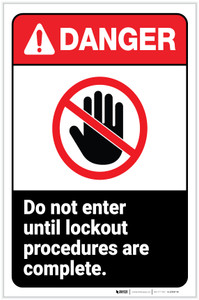 Danger: Do Not Enter Until Lockout Procedures are Complete ANSI with Icon Portrait - Label