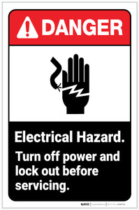Danger: Electrical Hazard - Turn Off Power and Lock Out ANSI with Icon Portrait - Label