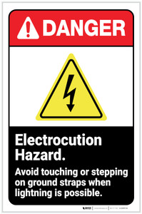 Danger: Electrocution Hazard - Avoid Touching or Strepping on Ground Straps ANSI with Icon Portrait - Label