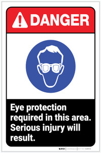 Danger: Eye Protection Required In Area - Serious Injury Will Result ANSI with Icon Portrait - Label