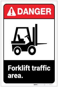 Danger: Forklift Traffic Area ANSI with Icon Portrait - Label