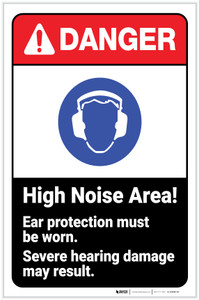 Danger: High Noise Area - Ear Protection Must Be Worn ANSI with Icon Portrait - Label