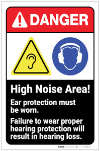 Danger: High Noise Area Wear Hearing Protection ANSI with Icon Portrait - Label