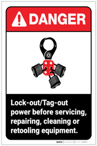 Danger: Lockout/Tagout Power Before Servicing/Repairing/Cleaning/Retooling Equipment ANSI with Icon Portrait - Label