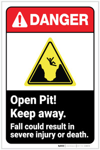 Danger: Open Pit - Keep Away/Fall Result In Injury ANSI with Icon Portrait - Label